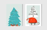 Hand drawn vector abstract fun Merry Christmas time cartoon cards collection set with cute illustrations isolated on craft paper background - 225722054