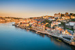 Leinwandbild Motiv Skyline of Porto, Portugal at sunrise