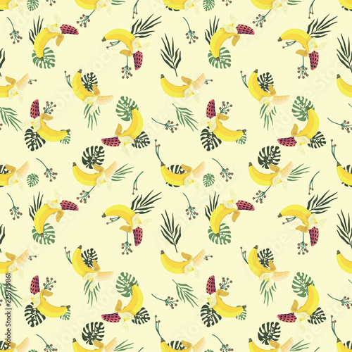 pattern with bananas and leaves. banana-watermelon. a joke of nature. - 225729861