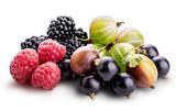 Berries (raspberry, blackcurrant, blackberry, gooseberry) isolated on white background.