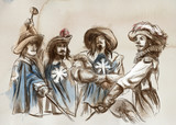 The Three Musketeers. An hand drawn illustration. Freehand drawing, painting. - 225747005