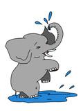 cartoon cute elephant  animal illustration