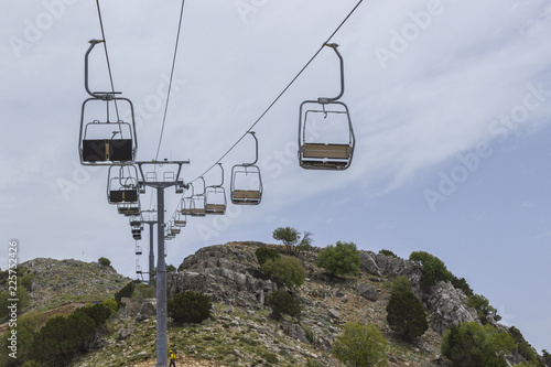 empty chair lift ski hill empty chair lift on the mountainside in summer buy photos ap