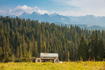 Worth of discover typical view Pieniny region over tatras mountain background