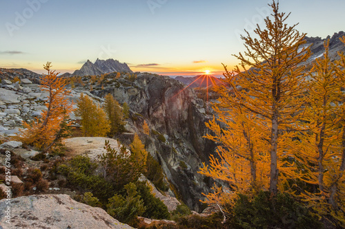 Sticker Sunrise at Asgard Pass, Washington, USA.