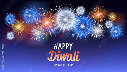 happy diwali traditional indian lights hindu festival celebration holiday concept flat greeting card template invitation horizontal