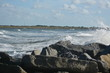Vilano Beach Inlet, Florida. Waves rolling in to the beach