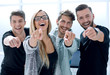 Leinwanddruck Bild - happy business team chooses you at modern office