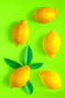 Leinwandbild Motiv photo of lemons on a saturated green background. use for postcards, cards, wedding, wallpapers, textiles, scrapbooking, decoration, invitations, background, holiday.