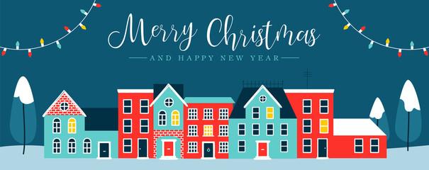 Christmas holiday night city winter greeting card