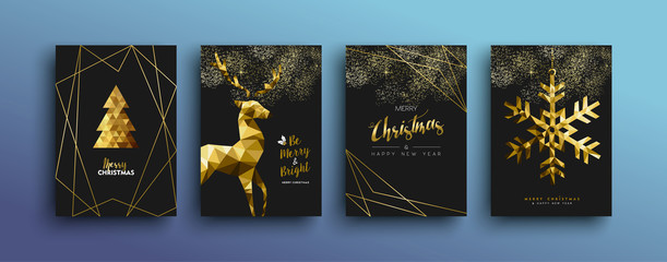 Christmas luxury gold greeting card collection © cienpiesnf