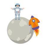 Astronaut boy on moon