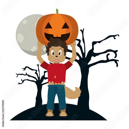 Kid and halloween cartoon - 225791093