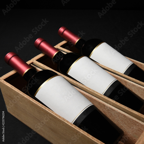 Three Wine Bottles in Wood Boxes Blank Labels - 225796204