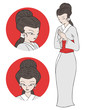 Japanese woman illustration - 225799817