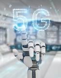 White cyborg hand using 5G network digital hologram 3D rendering