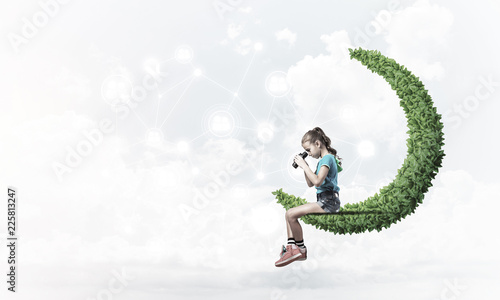 Foto Murales Idea of children Internet communication or online playing and pa