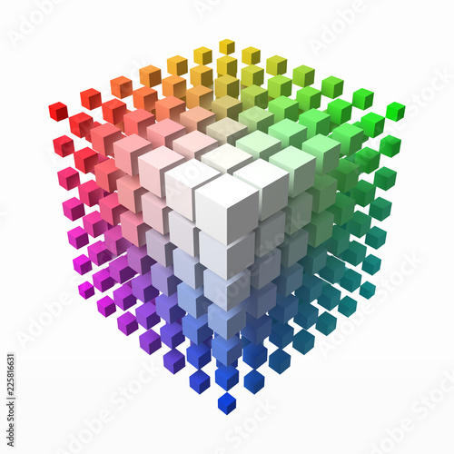 small cubes makes color gradient in shape of big cube. smaller cubes on corners. 3d style vector illustration.