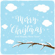 Lettering Merry Christmas on Winter Background