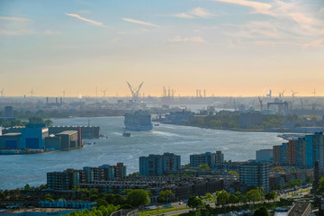 View of Rotterdam city and Nieuwe Maas river