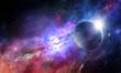 Leinwanddruck Bild - Space planets and nebula