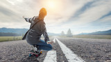 Teenager girl ride her skateboard. Mixed media - 225822867