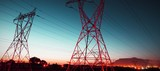 The evening electricity pylon silhouette - 225823809
