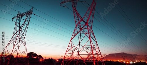 The evening electricity pylon silhouette © vectorfusionart