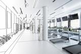 Laufbänder im Fitness-Zenter, leer (Entwurf)