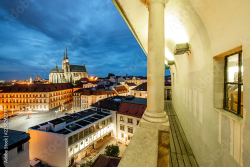 Leinwanddruck Bild Brno night cityscape view, Czech republic