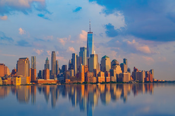 New York City with Manhattan Skyline over Hudson River,New York City, USA