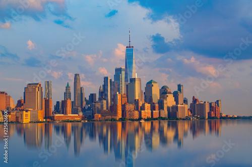 New York City with Manhattan Skyline over Hudson River,New York City, USA