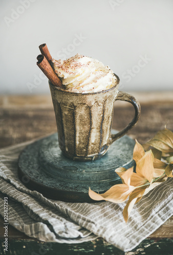 Leinwandbild Motiv Autumn or Winter hot chocolate or coffee with whipped cream and cinnamon in rustic mug, white background behind, selective focus. Fall warming sweet drink