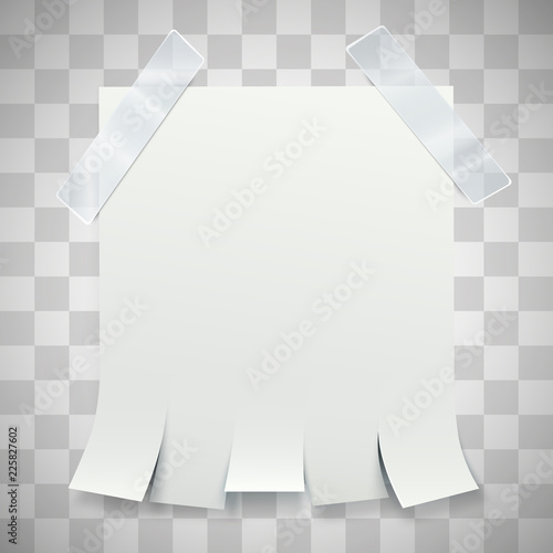 blank advertisement with tear off tabs and adhesive tape on