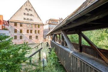 Ancient wooden bridge in Nurnberg, Germany