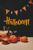 pumpkins, paper bats and paper garland with