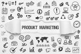 Produkt Marketing / weißes Papier mit Symbole