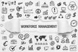 Workforce Management / weißes Papier mit Symbole - 225833668