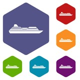 Cruise liner icons set rhombus in different colors isolated on white background