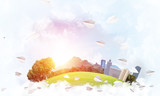 Concept of eco green life as elegant business center on white clouds