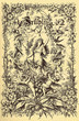 Leinwanddruck Bild - Beautiful vintage frontispiece chapter decoration dedicated to the spring season with Fruehling written in old German characters, then putti,floral goddess,flowers and birds