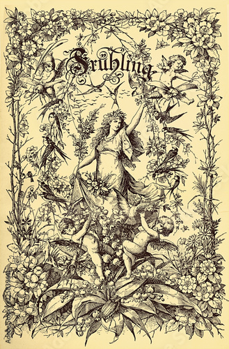 Leinwanddruck Bild Beautiful vintage frontispiece chapter decoration dedicated to the spring season with Fruehling written in old German characters, then putti,floral goddess,flowers and birds