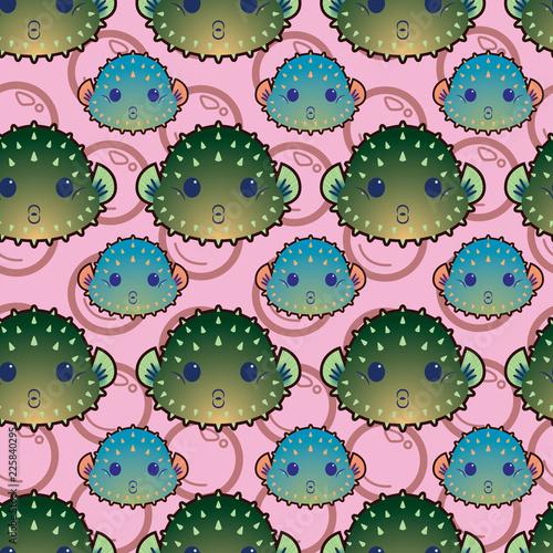 Cute Puffy Puffer Fish - 225840295