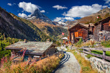 Swiss Alps. Landscape image of Swiss Alps with Matterhorn during autumn morning.