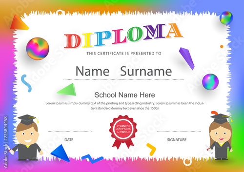 diploma certificate preschool kids elementary school design background vector template