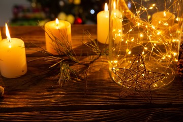 Cozy Christmas ornaments on wooden table
