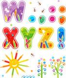 Colorful decorated spring, summer or school alphabet set letters W - Z, marks of punctuation, design elements