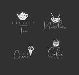 Food sign cake, ice cream, tea, noodles chalk - 225852827