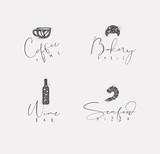 Food sign coffee, croissant, wine, shrimp - 225853023