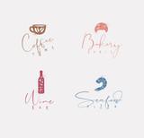 Food sign coffee, croissant, wine, shrimp color - 225853083